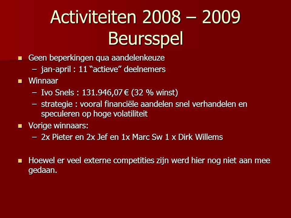 Activiteiten 2008 – 2009 Beursspel