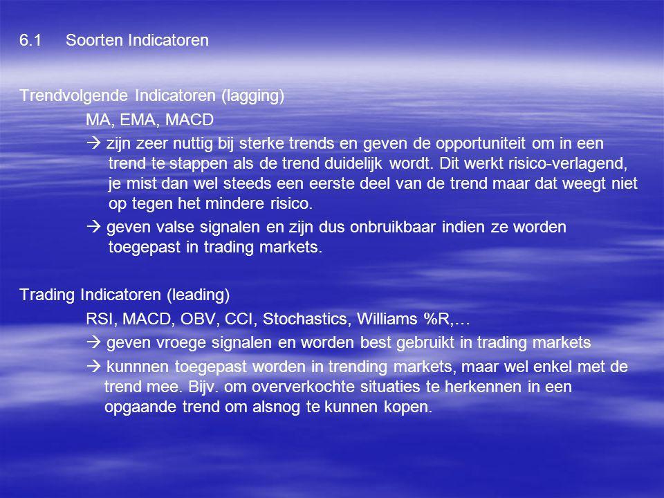 6.1 Soorten Indicatoren Trendvolgende Indicatoren (lagging) MA, EMA, MACD.