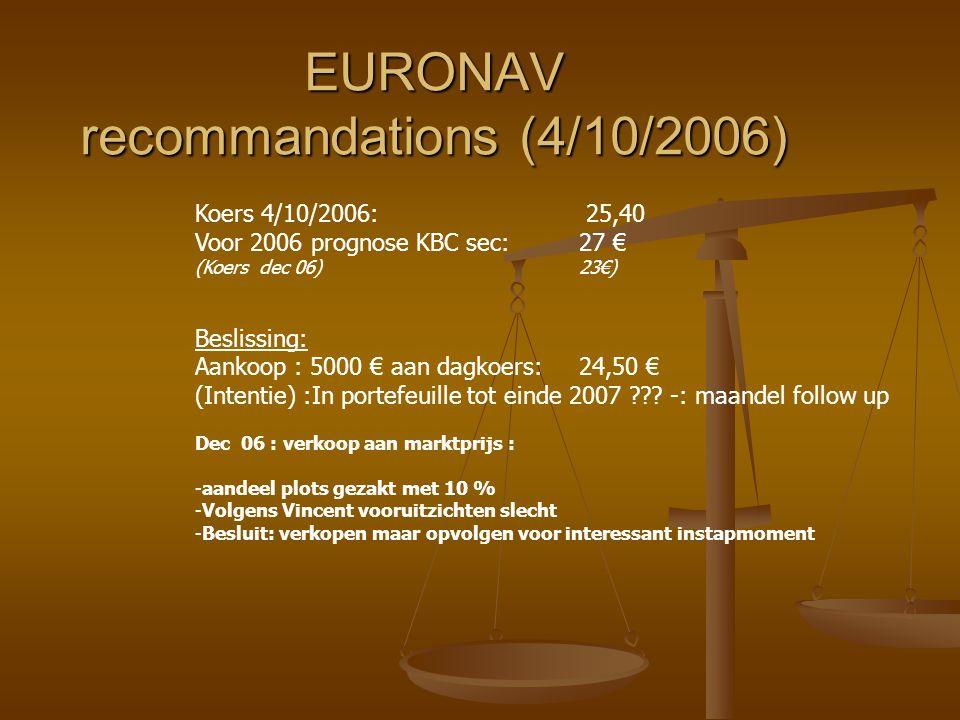 EURONAV recommandations (4/10/2006)