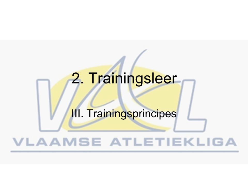 III. Trainingsprincipes