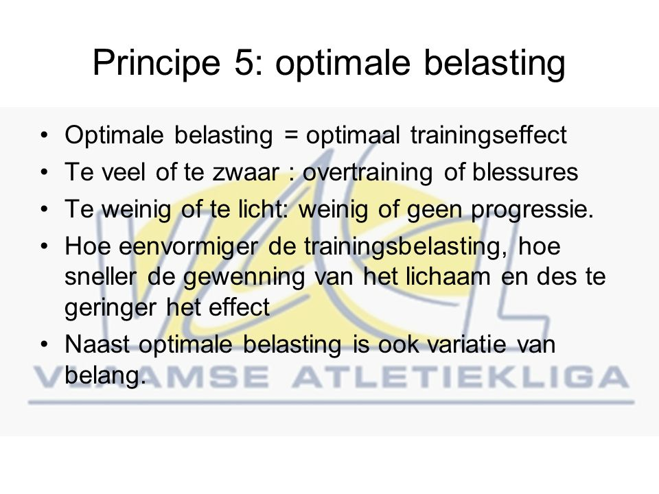 Principe 5: optimale belasting