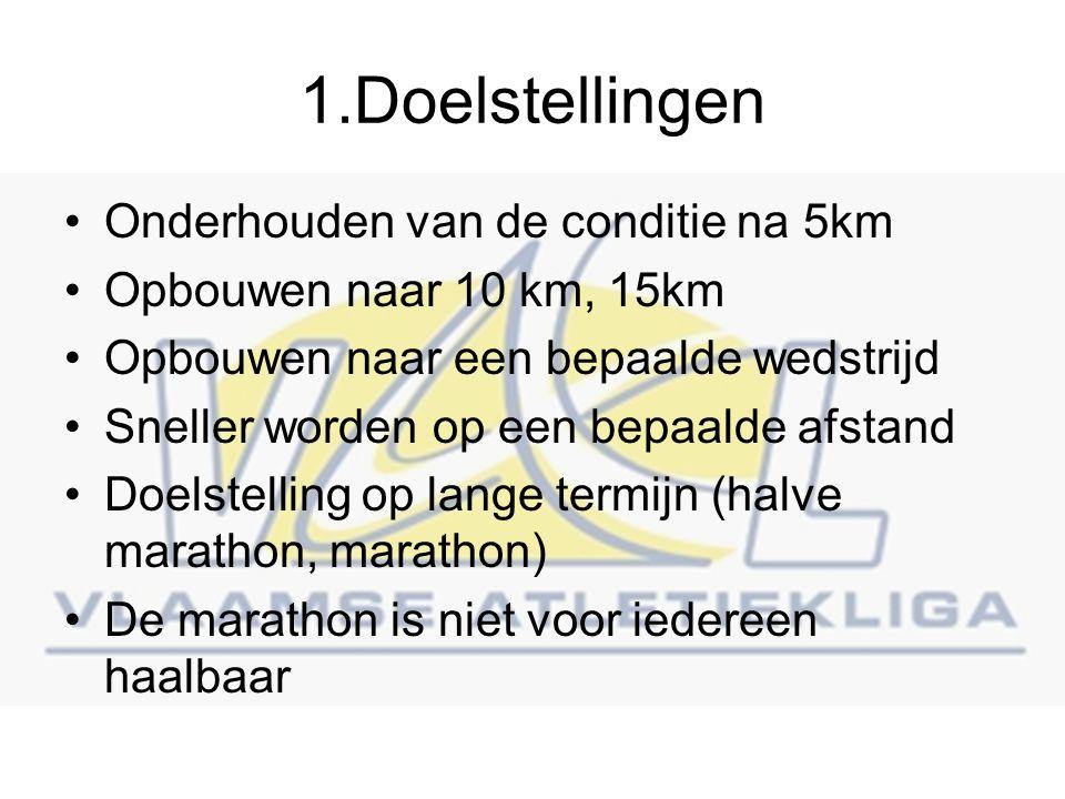 1.Doelstellingen Onderhouden van de conditie na 5km