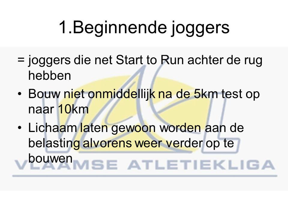 1.Beginnende joggers = joggers die net Start to Run achter de rug hebben. Bouw niet onmiddellijk na de 5km test op naar 10km.