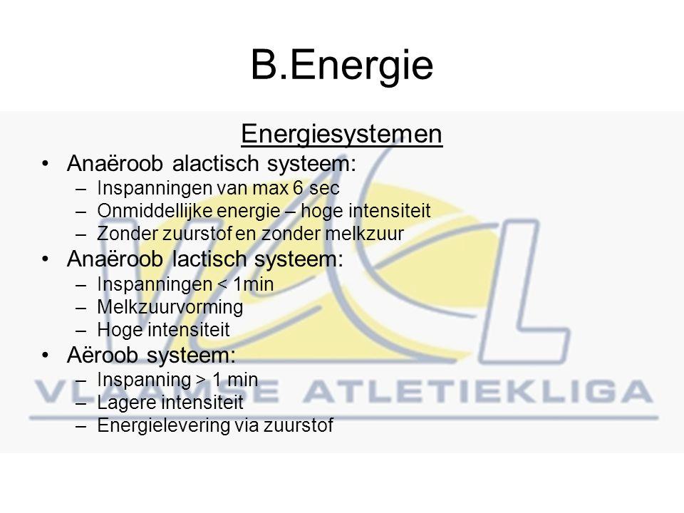 B.Energie Energiesystemen Anaëroob alactisch systeem: