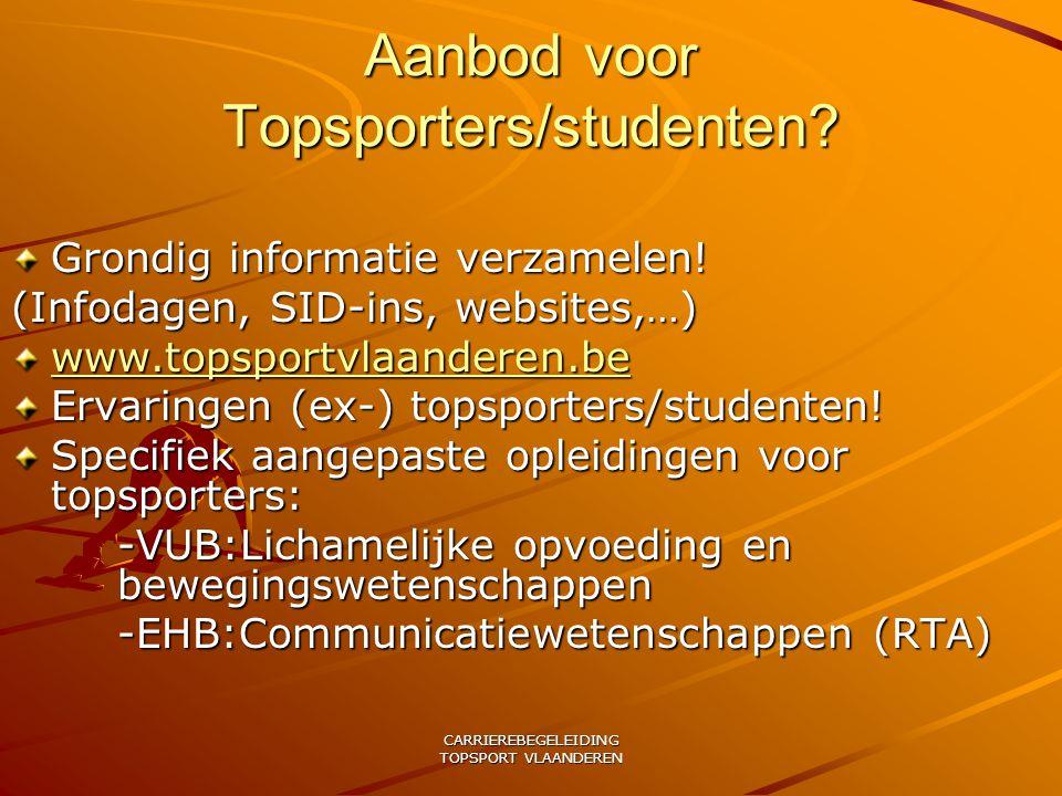 Aanbod voor Topsporters/studenten