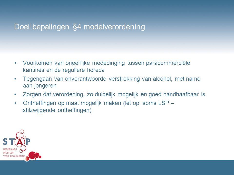Doel bepalingen §4 modelverordening