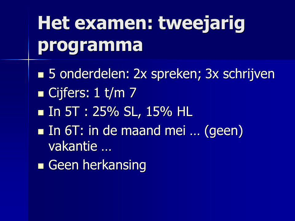 Het examen: tweejarig programma