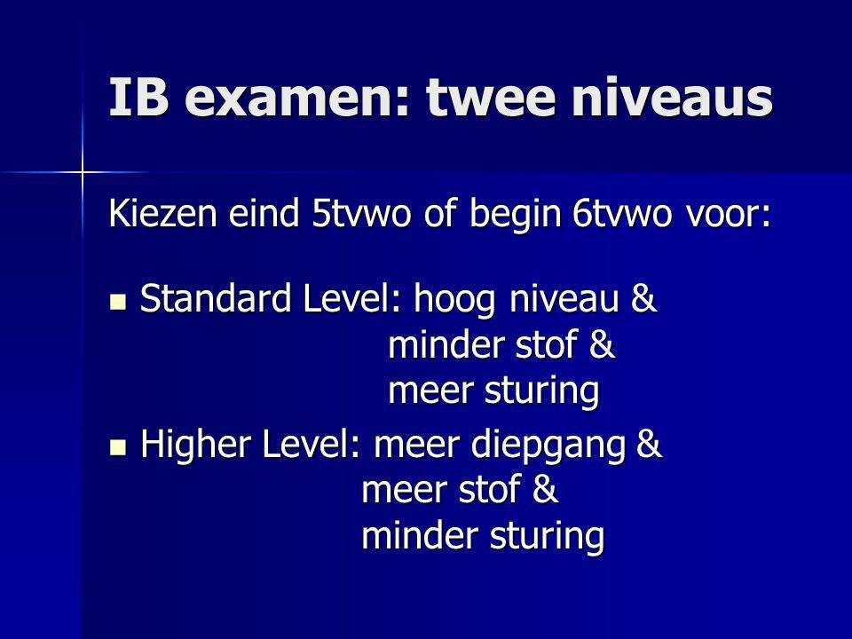 IB examen: twee niveaus