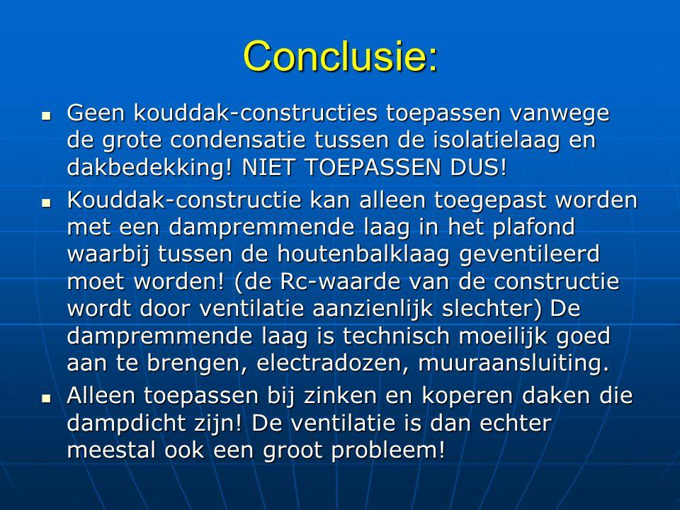 Conclusie: Geen kouddak-constructies toepassen vanwege de grote condensatie tussen de isolatielaag en dakbedekking! NIET TOEPASSEN DUS!