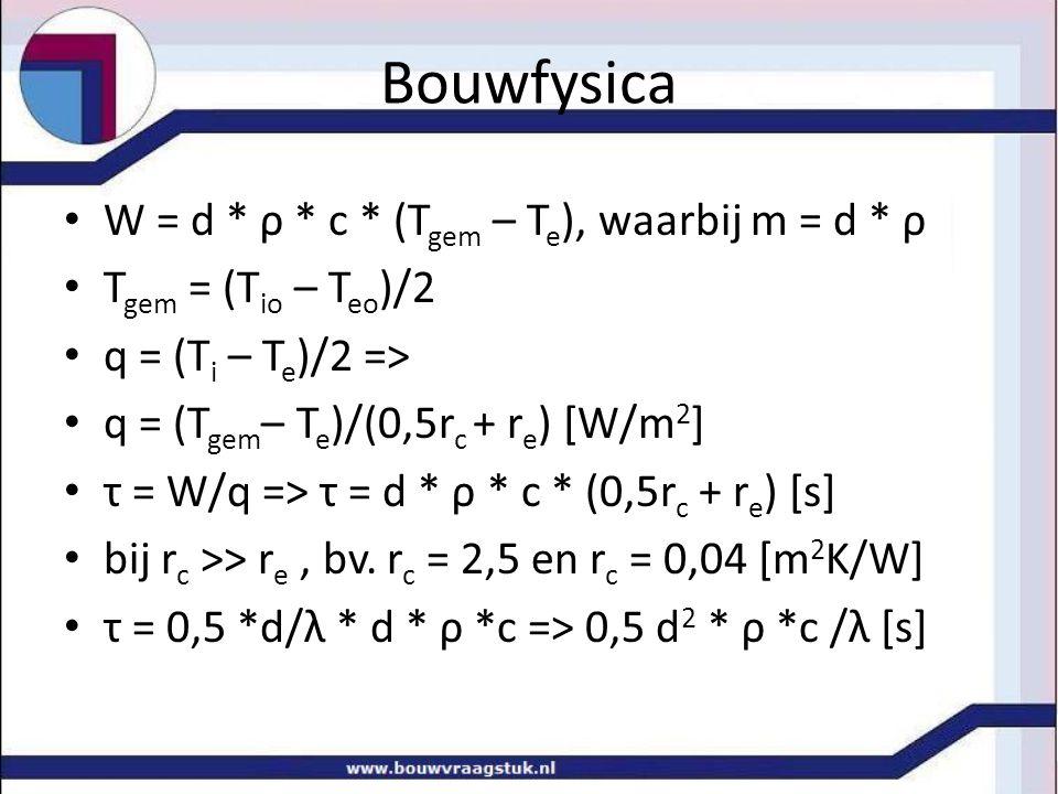 Bouwfysica W = d * ρ * c * (Tgem – Te), waarbij m = d * ρ