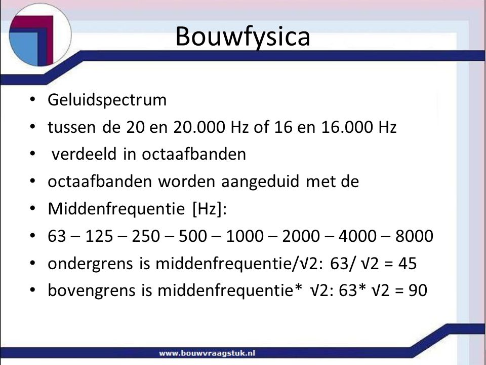 Bouwfysica Geluidspectrum tussen de 20 en 20.000 Hz of 16 en 16.000 Hz