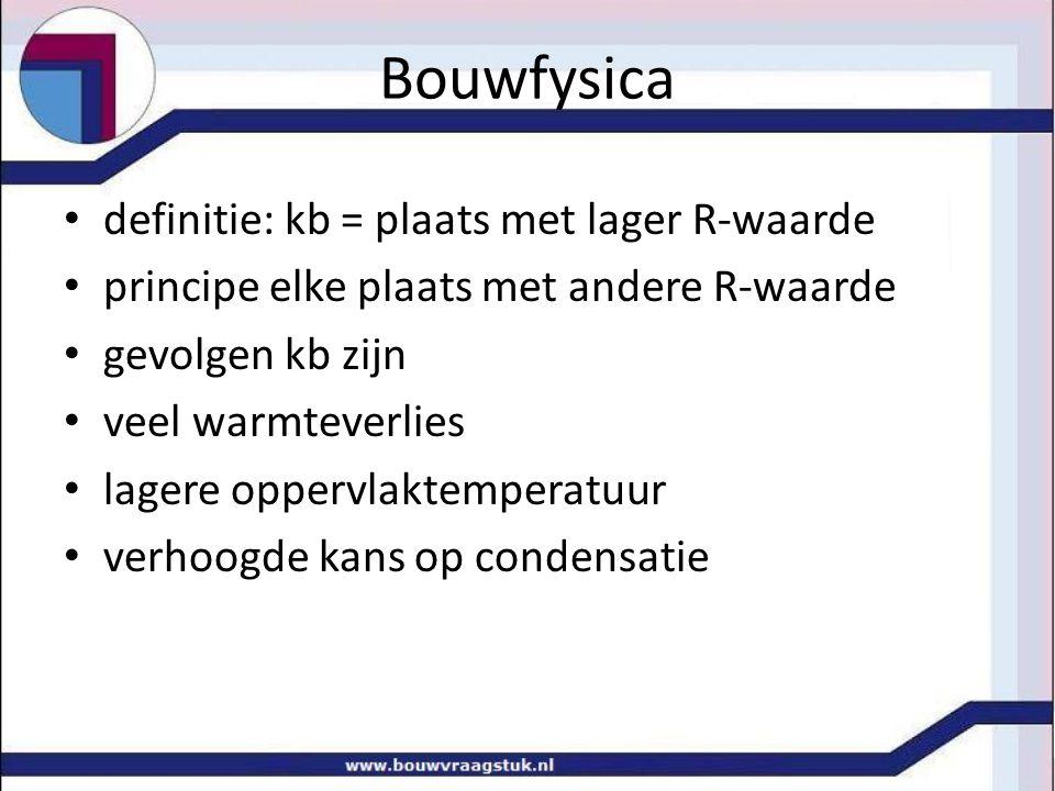 Bouwfysica definitie: kb = plaats met lager R-waarde
