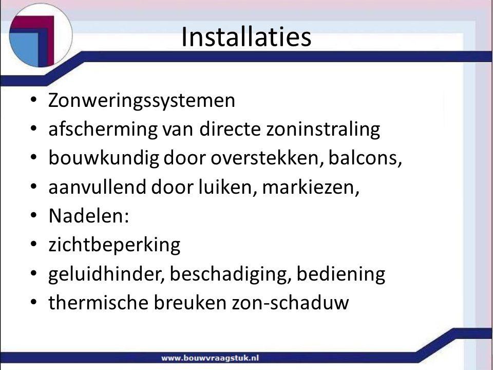 Installaties Zonweringssystemen afscherming van directe zoninstraling
