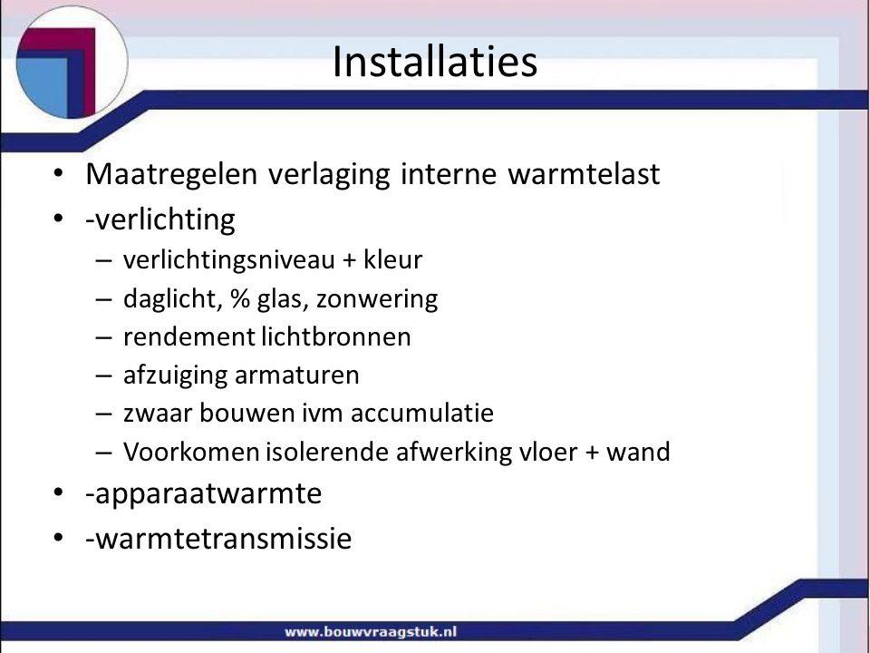 Installaties Maatregelen verlaging interne warmtelast -verlichting