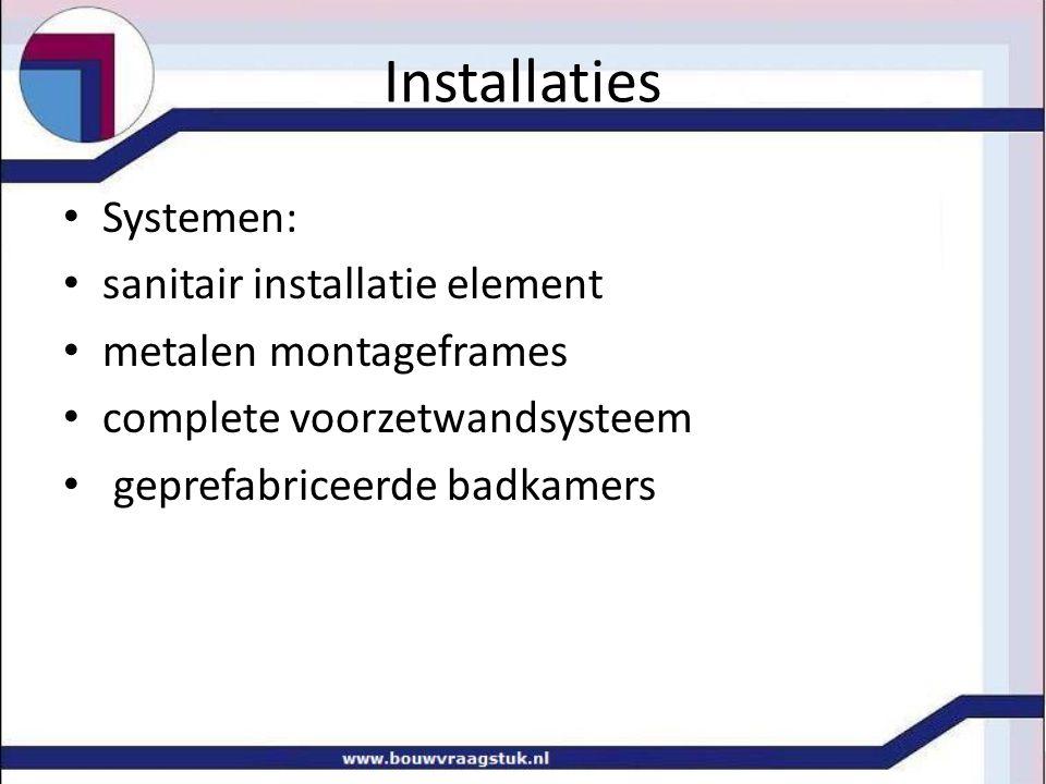 Installaties Systemen: sanitair installatie element