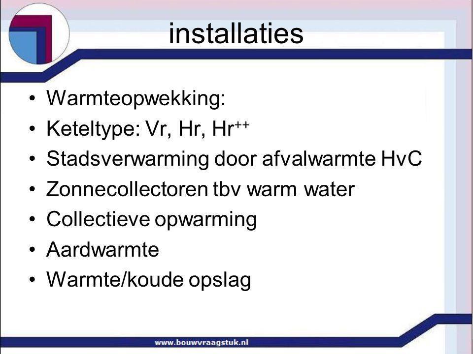 installaties Warmteopwekking: Keteltype: Vr, Hr, Hr++