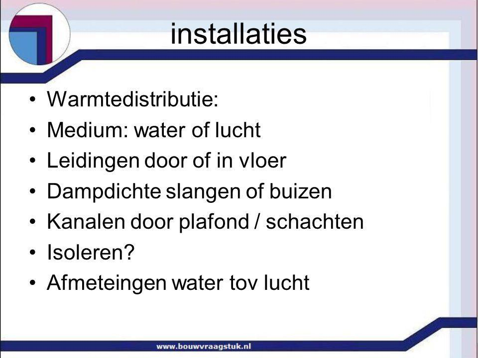 installaties Warmtedistributie: Medium: water of lucht
