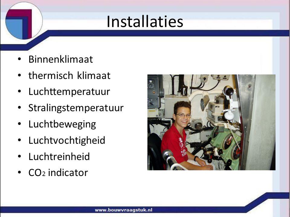 Installaties Binnenklimaat thermisch klimaat Luchttemperatuur