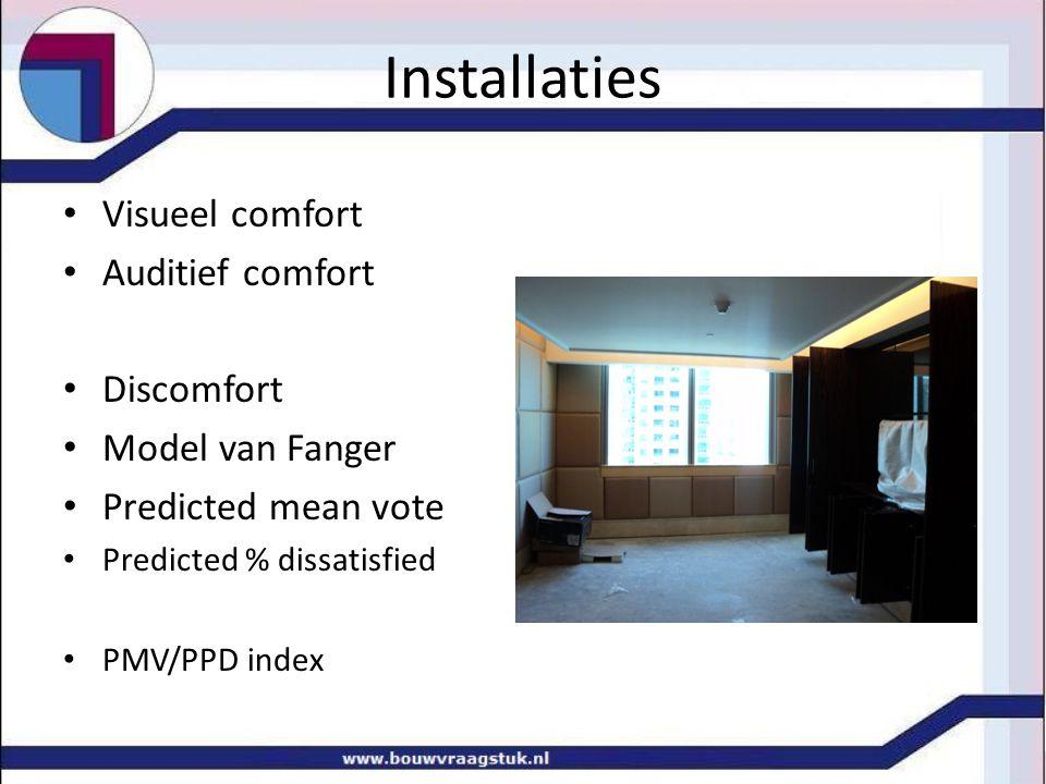 Installaties Visueel comfort Auditief comfort Discomfort
