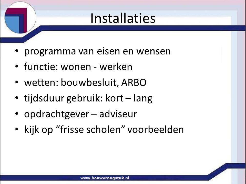 Installaties programma van eisen en wensen functie: wonen - werken