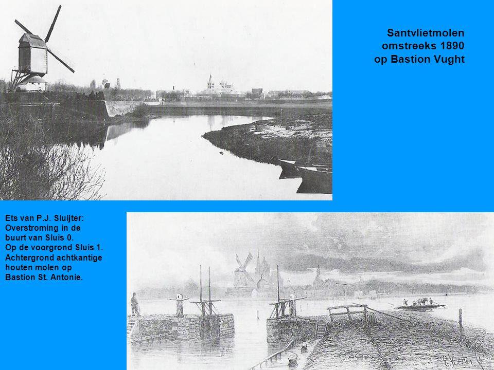 Santvlietmolen omstreeks 1890 op Bastion Vught