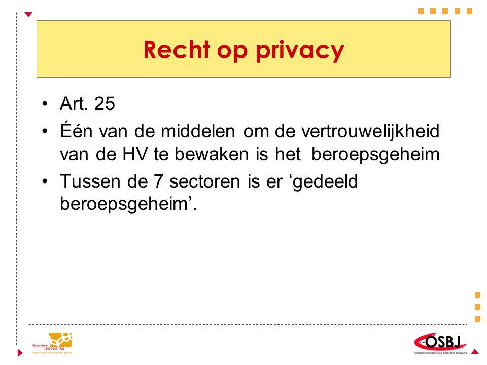 Recht op privacy Art. 25. Één van de middelen om de vertrouwelijkheid van de HV te bewaken is het beroepsgeheim.