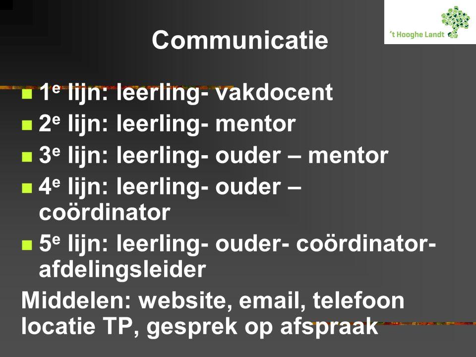 Communicatie 1e lijn: leerling- vakdocent 2e lijn: leerling- mentor