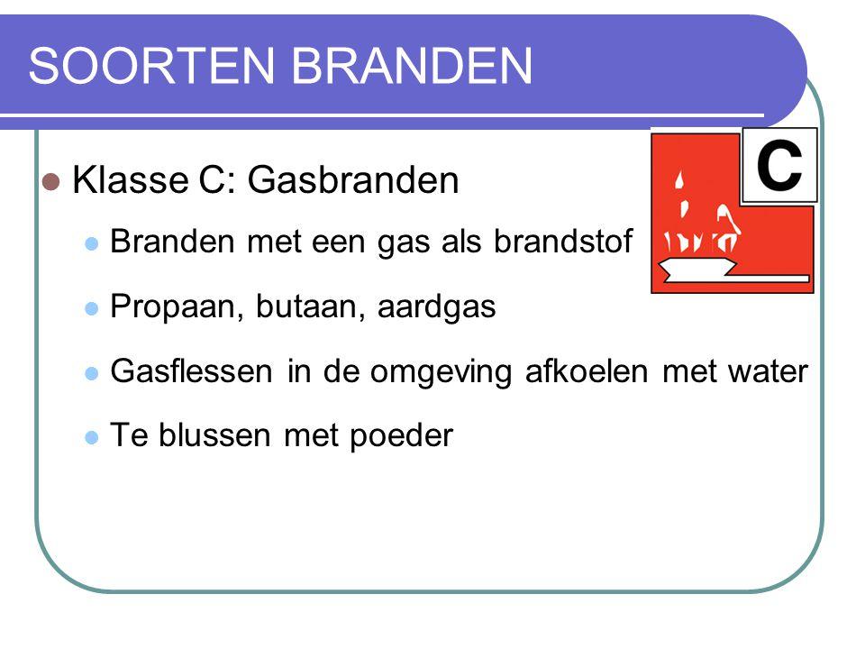 SOORTEN BRANDEN Klasse C: Gasbranden Branden met een gas als brandstof