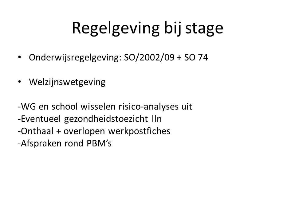 Regelgeving bij stage Onderwijsregelgeving: SO/2002/09 + SO 74