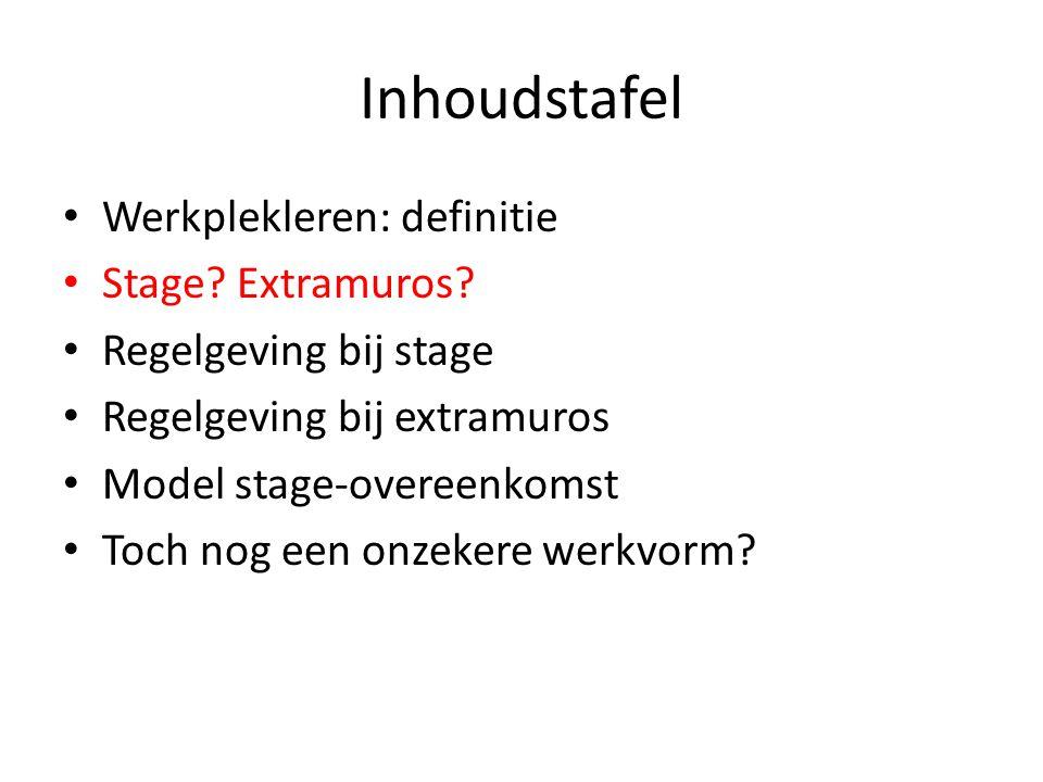 Inhoudstafel Werkplekleren: definitie Stage Extramuros