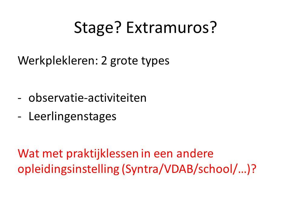 Stage Extramuros Werkplekleren: 2 grote types