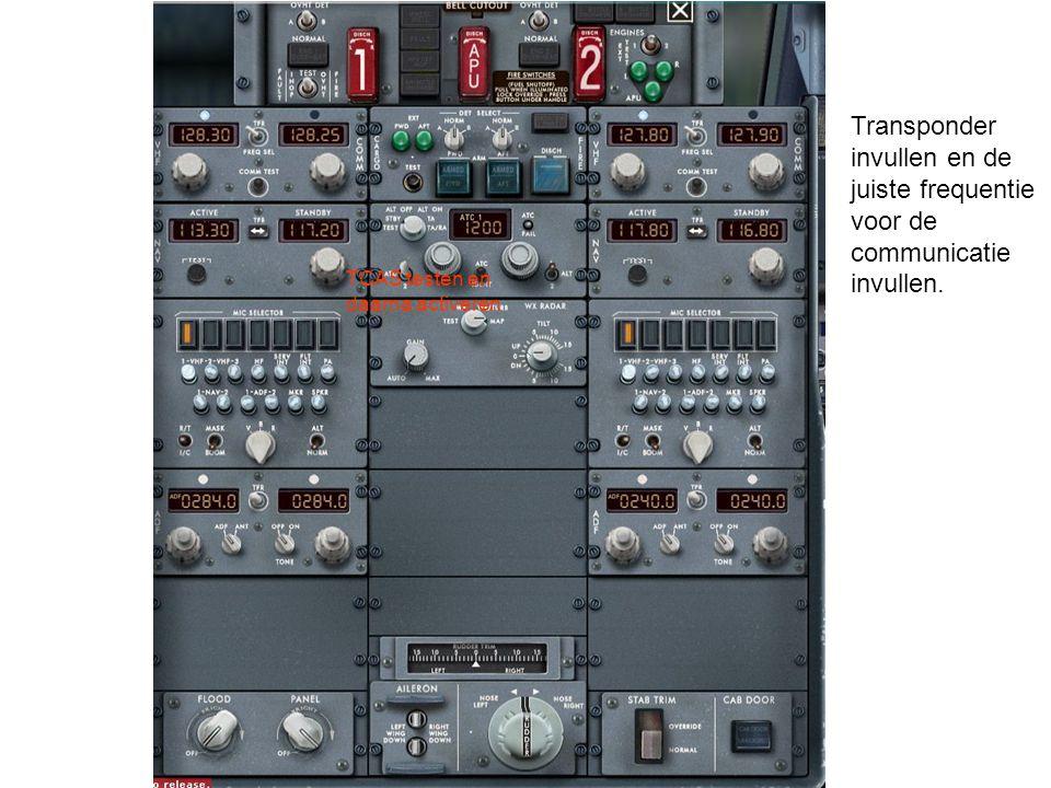 Transponder invullen en de juiste frequentie voor de communicatie invullen.