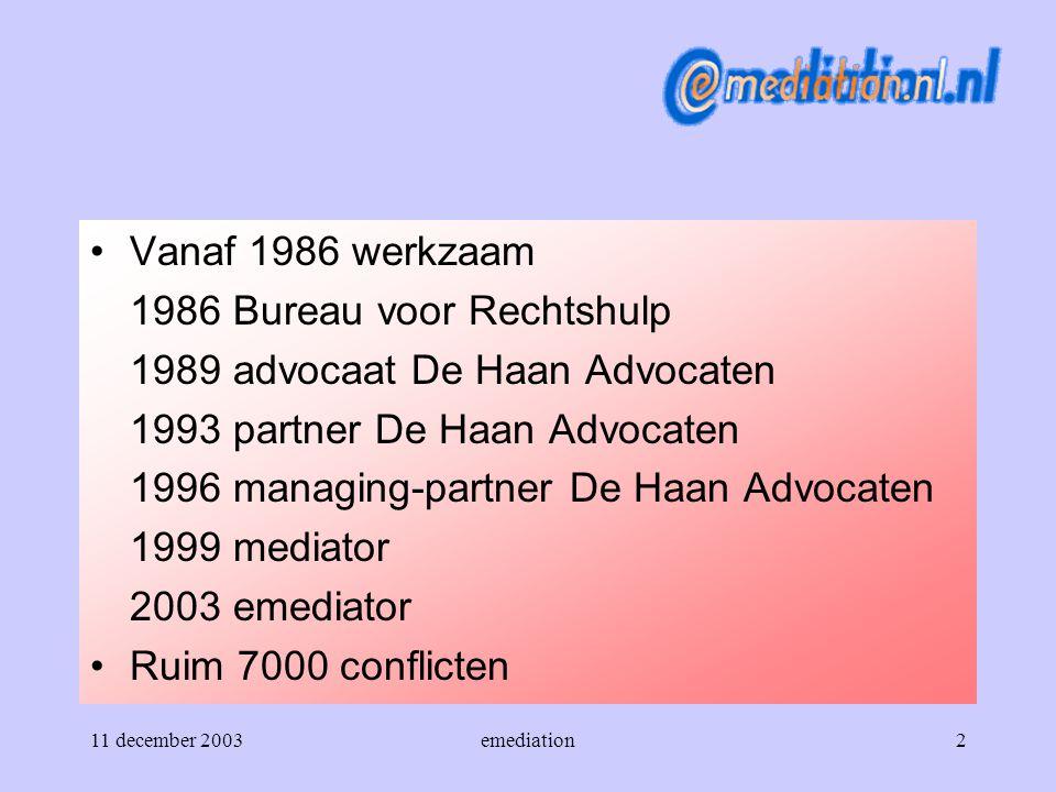 1986 Bureau voor Rechtshulp 1989 advocaat De Haan Advocaten