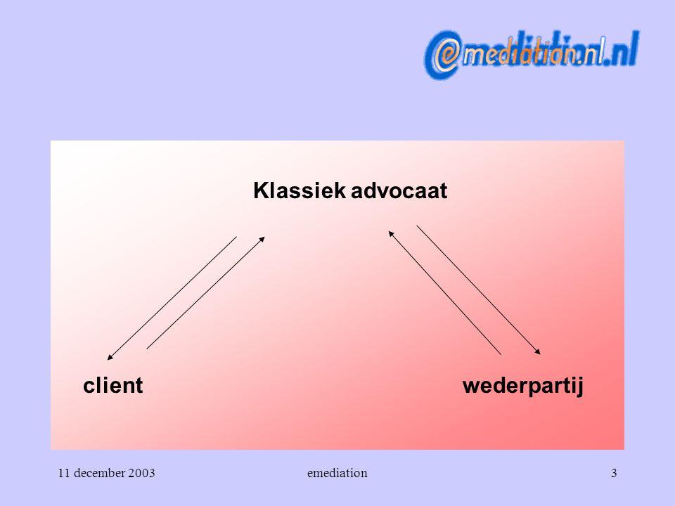 Klassiek advocaat client wederpartij 11 december 2003 emediation