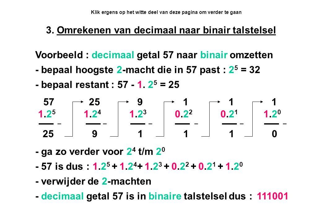 3. Omrekenen van decimaal naar binair talstelsel