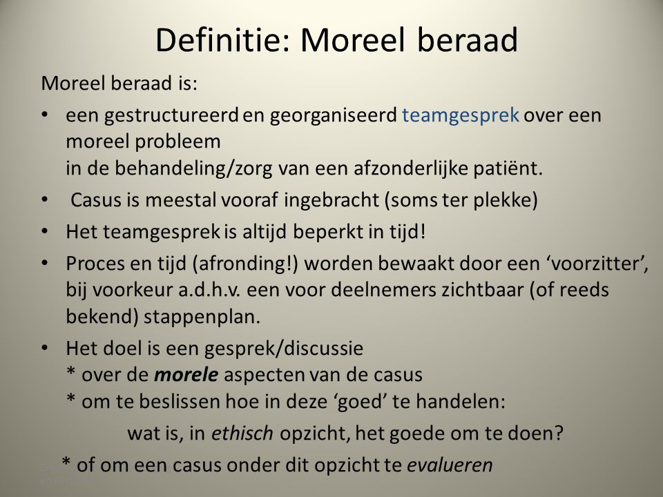 Definitie: Moreel beraad