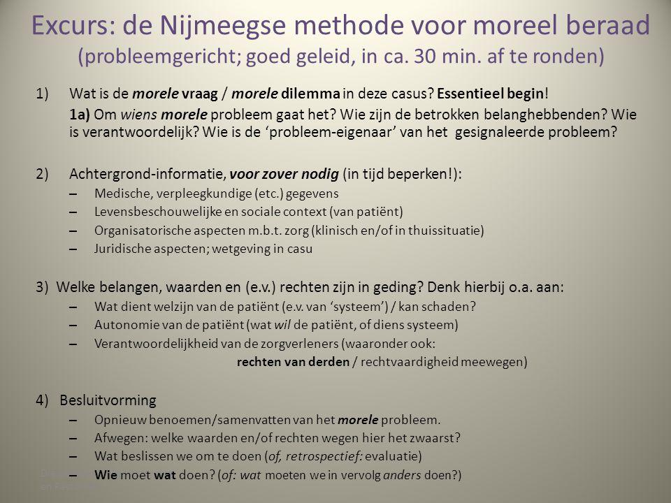 Excurs: de Nijmeegse methode voor moreel beraad (probleemgericht; goed geleid, in ca. 30 min. af te ronden)