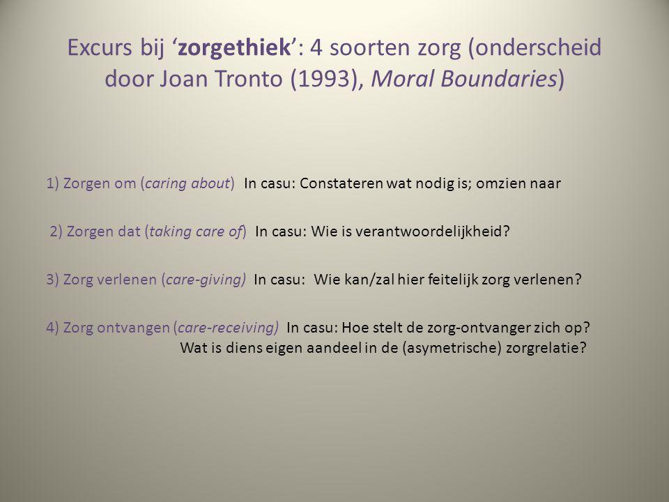 Excurs bij 'zorgethiek': 4 soorten zorg (onderscheid door Joan Tronto (1993), Moral Boundaries)