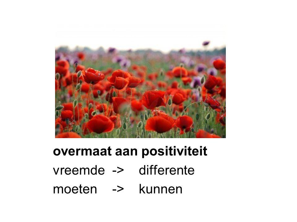 overmaat aan positiviteit