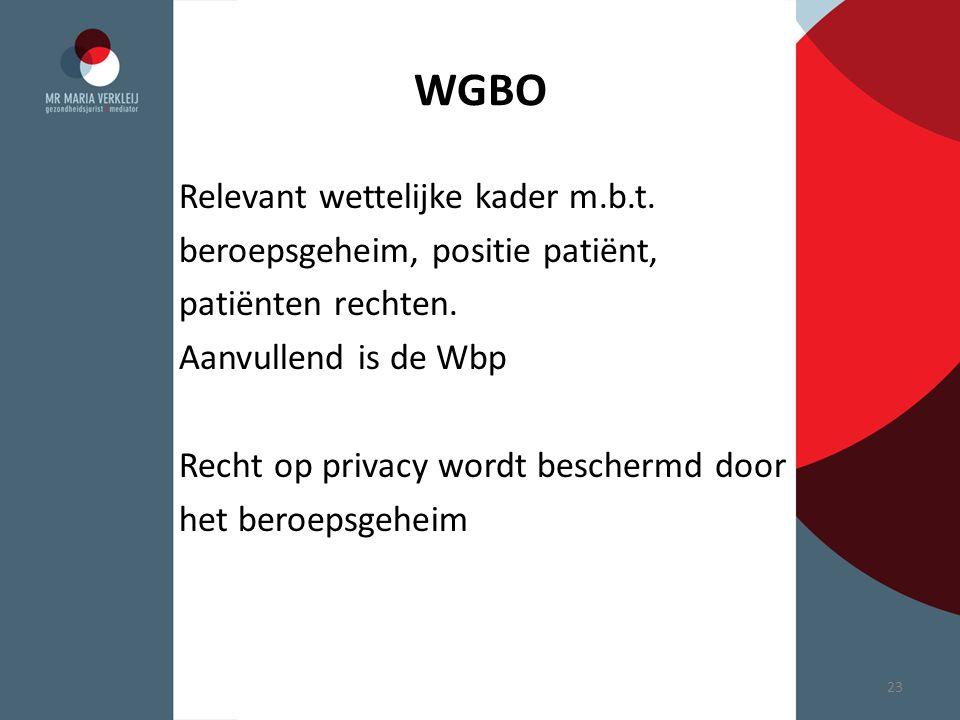 WGBO Relevant wettelijke kader m.b.t. beroepsgeheim, positie patiënt,