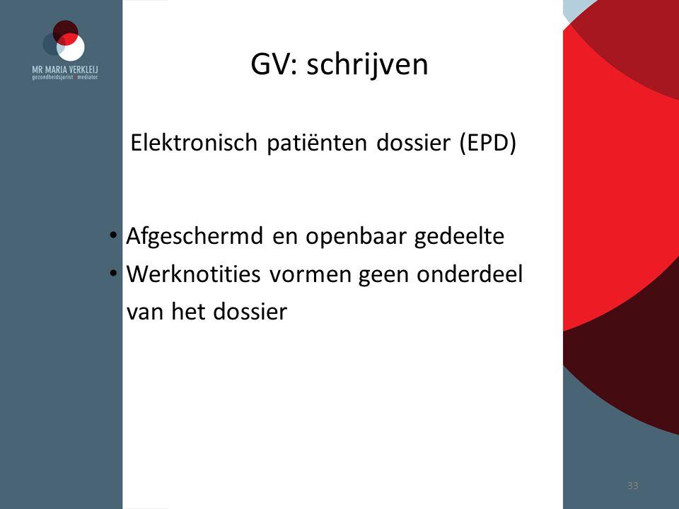 GV: schrijven Elektronisch patiënten dossier (EPD)