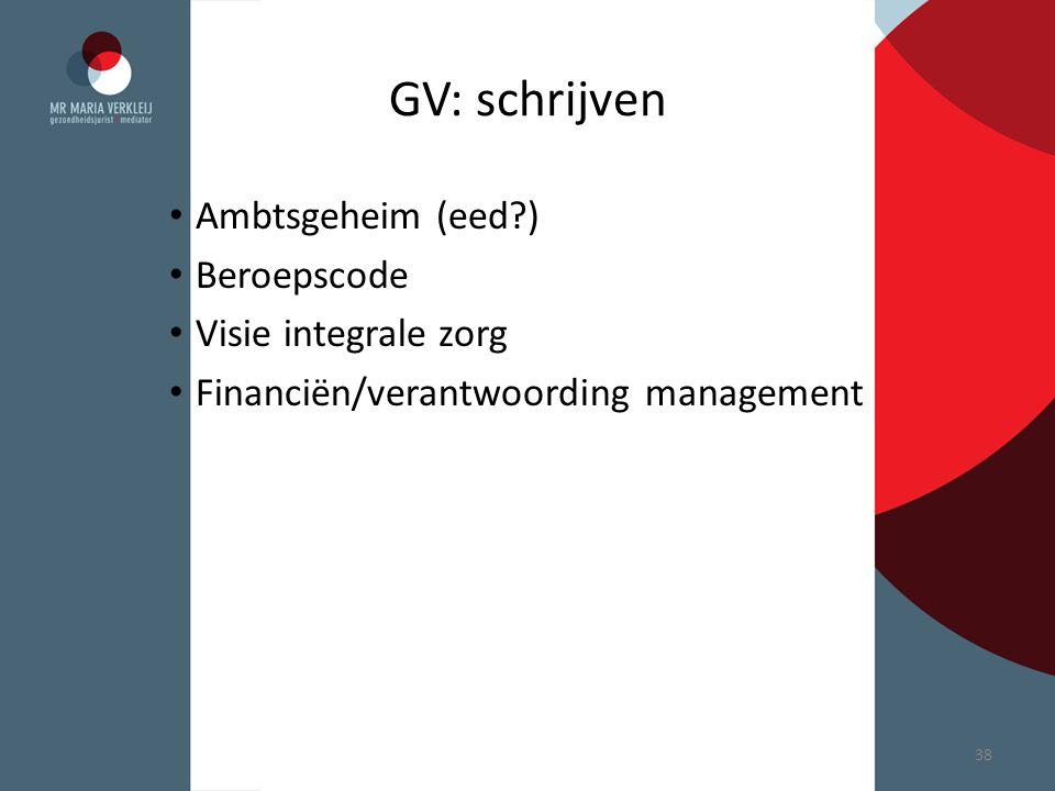 GV: schrijven Ambtsgeheim (eed ) Beroepscode Visie integrale zorg