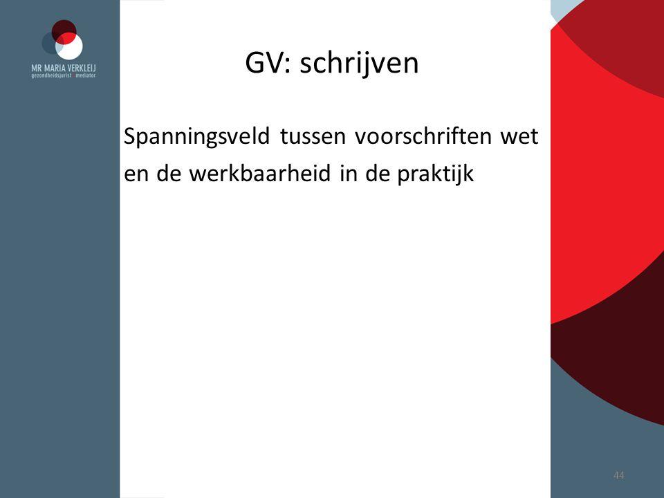 GV: schrijven Spanningsveld tussen voorschriften wet en de werkbaarheid in de praktijk