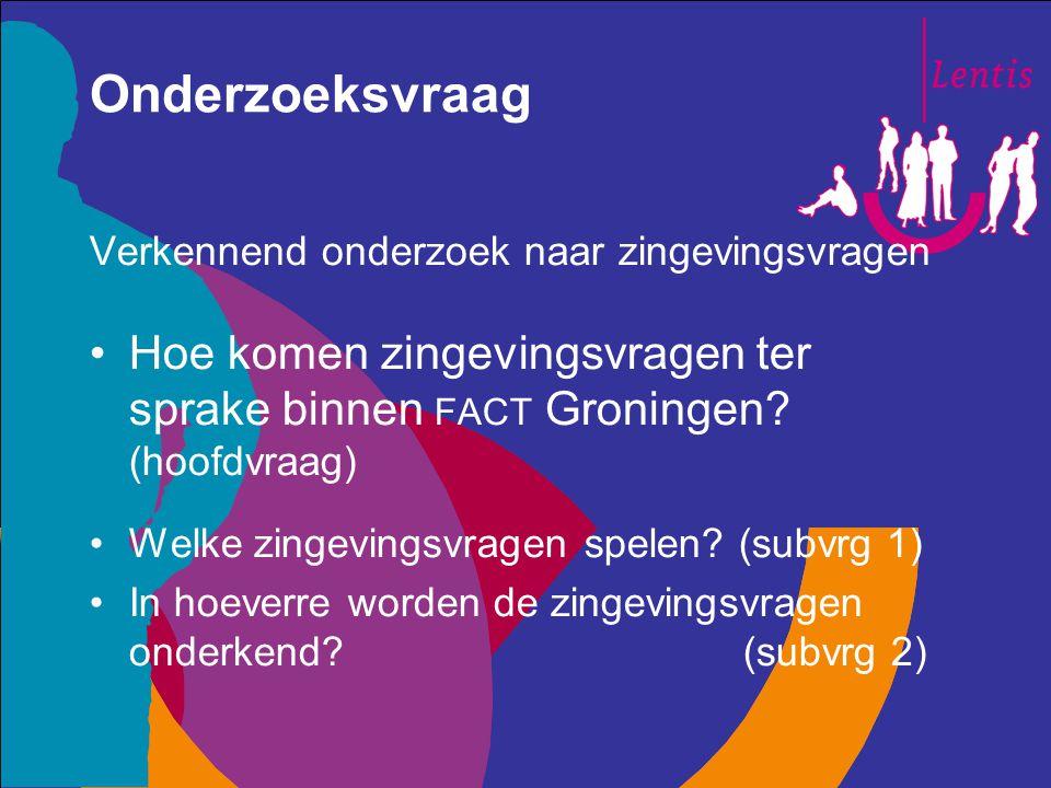Onderzoeksvraag Verkennend onderzoek naar zingevingsvragen. Hoe komen zingevingsvragen ter sprake binnen fact Groningen (hoofdvraag)