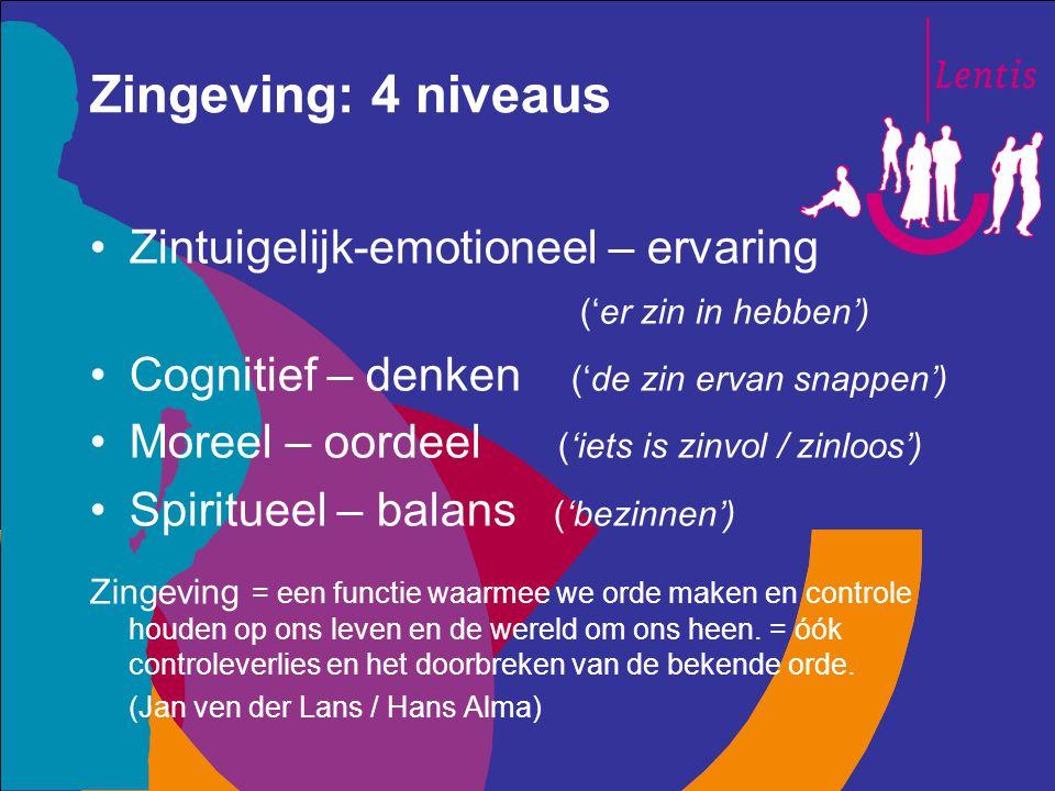 Zingeving: 4 niveaus Zintuigelijk-emotioneel – ervaring
