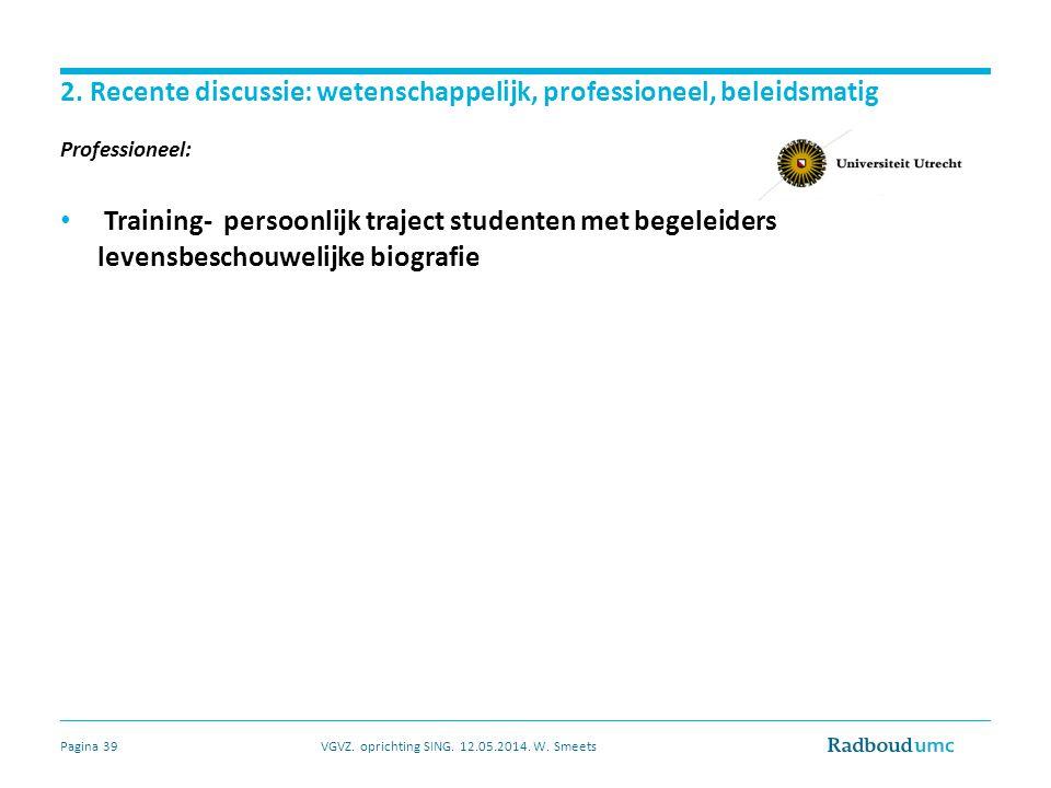 2. Recente discussie: wetenschappelijk, professioneel, beleidsmatig