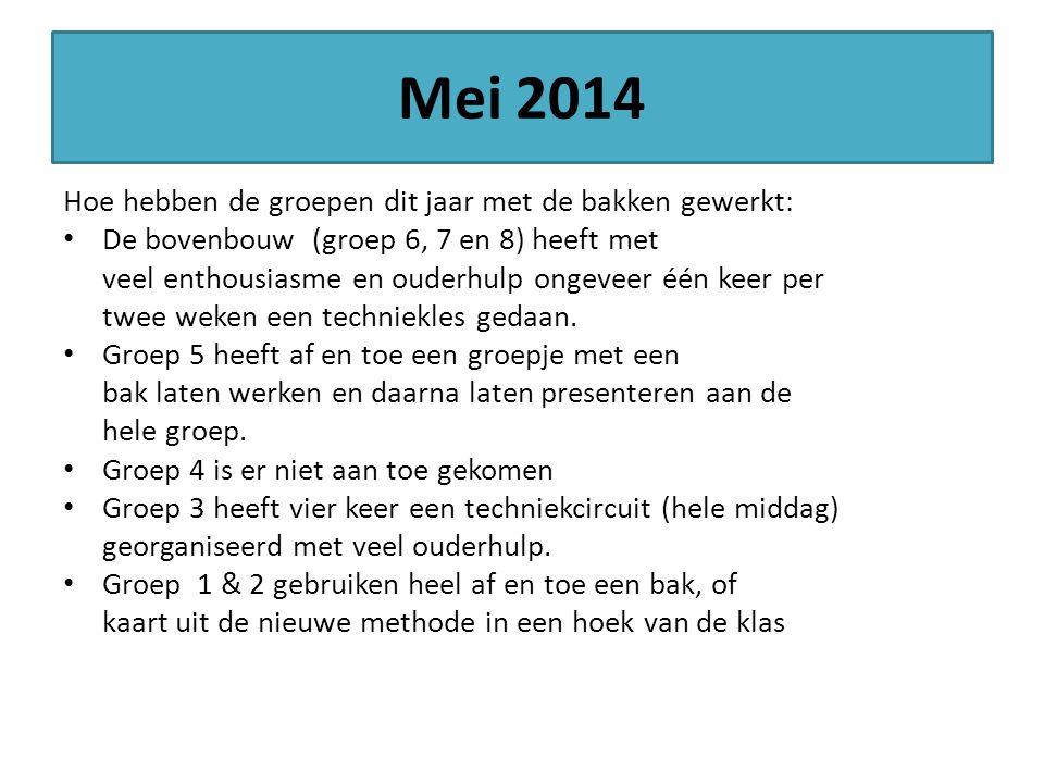 Mei 2014 Hoe hebben de groepen dit jaar met de bakken gewerkt: