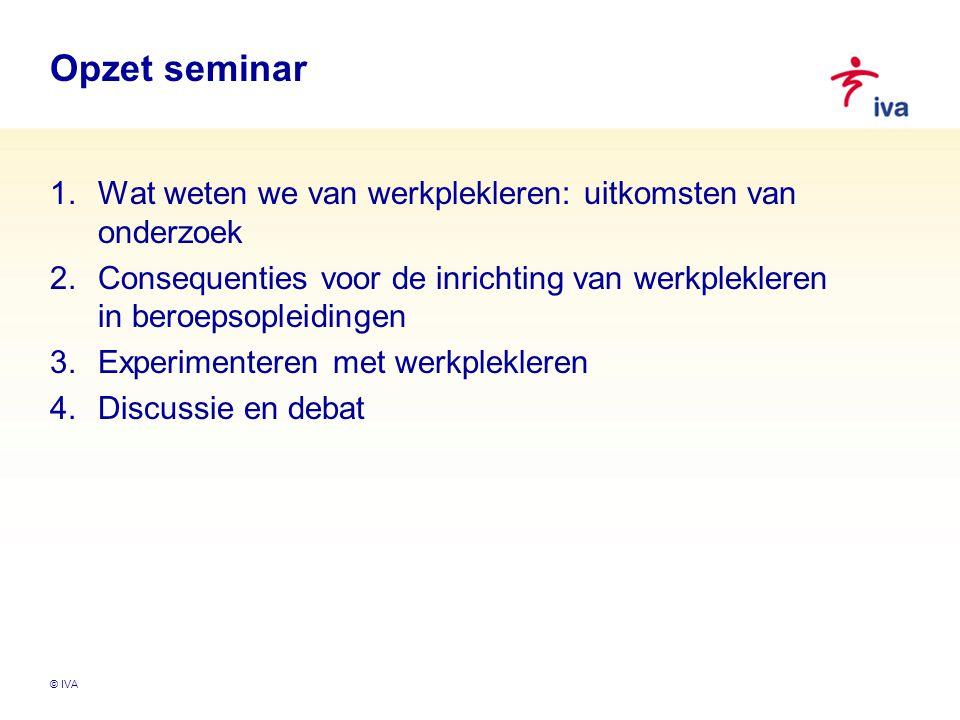 Opzet seminar Wat weten we van werkplekleren: uitkomsten van onderzoek