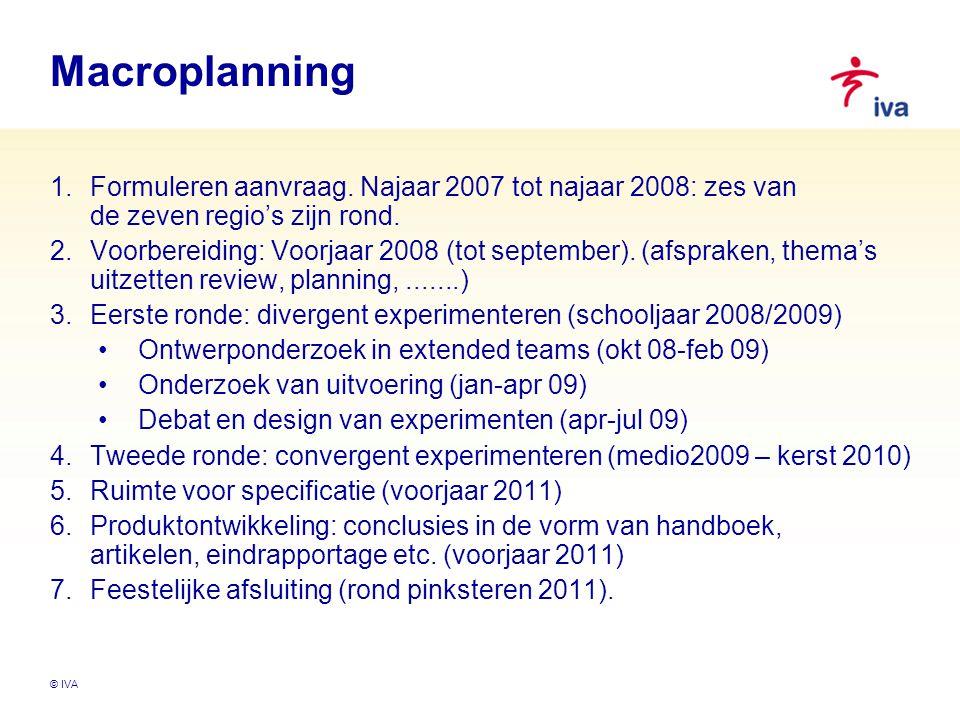 Macroplanning Formuleren aanvraag. Najaar 2007 tot najaar 2008: zes van de zeven regio's zijn rond.