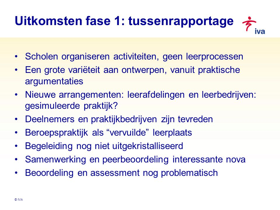 Uitkomsten fase 1: tussenrapportage